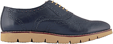 TZARO Genuine Leather , Feather Lite Navy Blue Brogue  Shoes -  Martini, BRG7723NAV