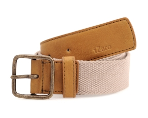 Beige Light Tan Canvas Genuine Leather Belt Online