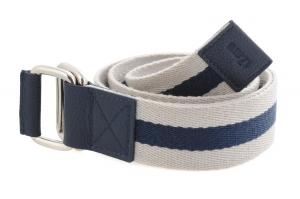 White & Navy Blue Canvas Leather Belt Online for Men Online
