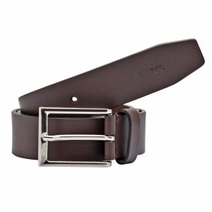 TZARO Classic Dark Tan Genuine Leather Belt  - IQZPRLTHBL32