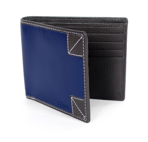 Buy Blue Black Bifold Stylish Leather Wallet Online