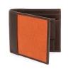 Tan Orange Bifold Canvas Genuine Leather Wallet Online