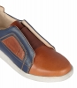 Tan Blue Leather Slip on Shoes