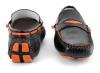 Black Orange Leather Driving Shoes Online