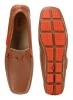 Tan Orange driving moccasin shoes