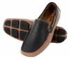 Beige Black Leather Driving Shoes