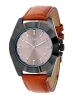 Tan Color Leather Strap Analog Wrist Watch
